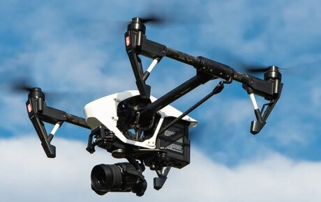 drone with a camera fly in the sky